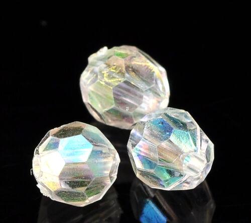 Gros Lots Perles intercalaire Acrylique Clair AB couleur Facette 6mmx6mm