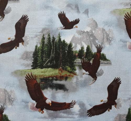 Majestic Bald Eagle fabric BTY Elizabeth Studios 100/% Cotton American animals US