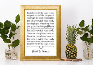 Details about ed sheeran shape of you lyric personalised gift a4 print  valentines anniversary