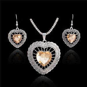 Hot-Thai-Silver-CZ-Rhinestone-Vintage-Romantic-Heart-Necklace-Earrings-Jewel-Set