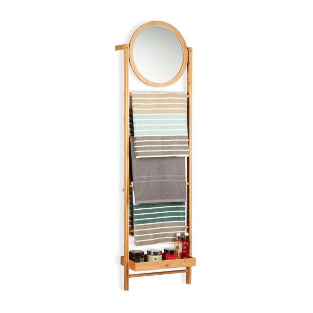 Porte-serviette bambou miroir 4 barres porte-serviettes salle de bain rangement