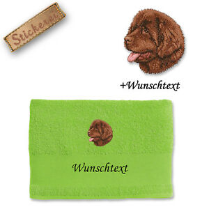 Handtuch Duschtuch Baumwolle Stickerei Bestickt Hund Neufundländer Shampoos & Waschartikel Wunschtext Hand-, Bade- & Saunatücher