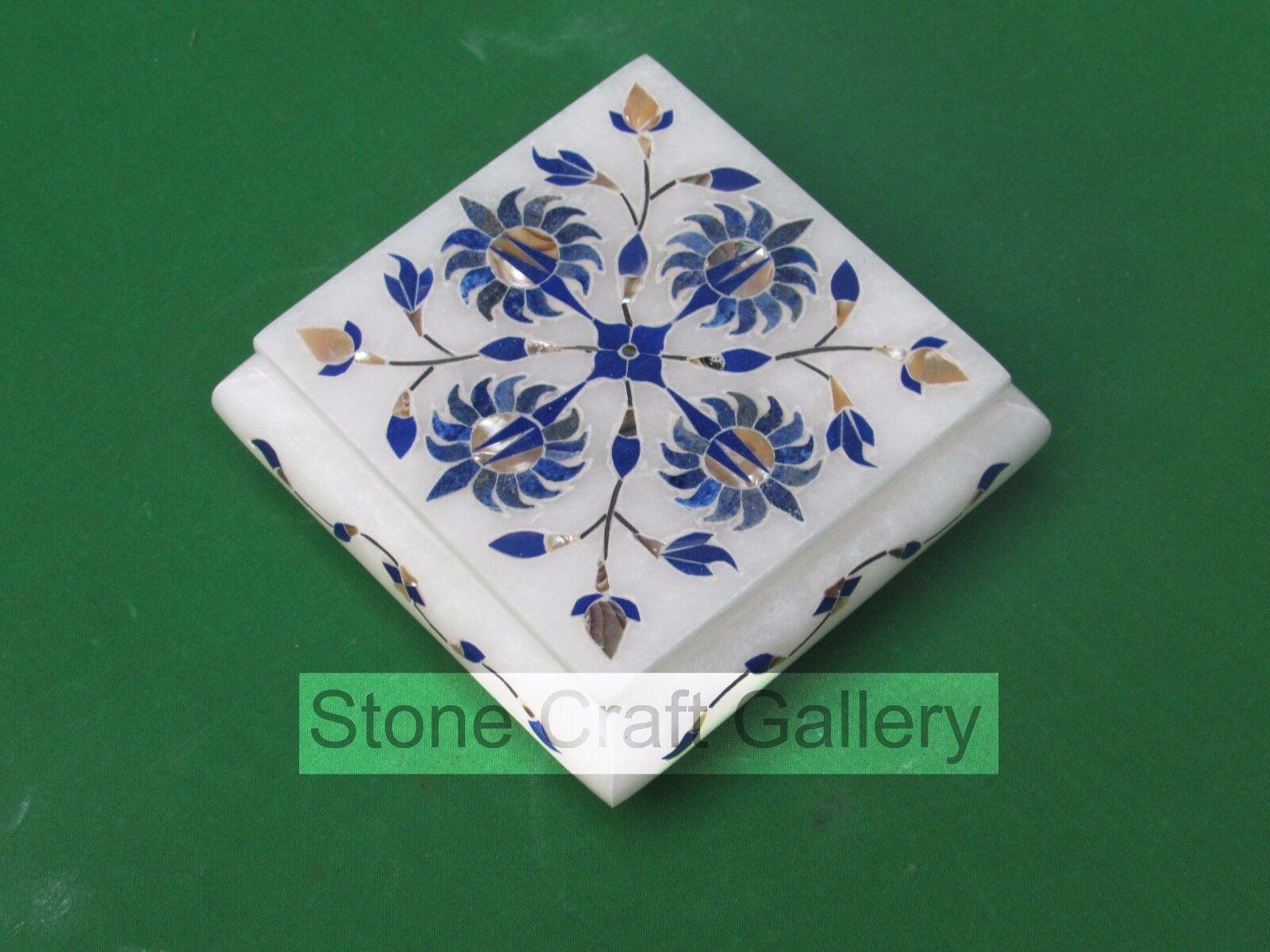 Marble Jewelry Box Pietra dura  Art Crafts White Stone Handmade and Gift