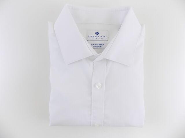 $148 RYAN SEACREST Men WHITE SLIM-FIT STRETCH LONG-SLEEVE DRESS SHIRT 15 32//33 M