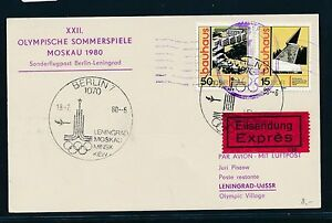 97460) Rda Coursier So-carte If Olympiades Sf Berlin-leningrad 18.7.80-afficher Le Titre D'origine