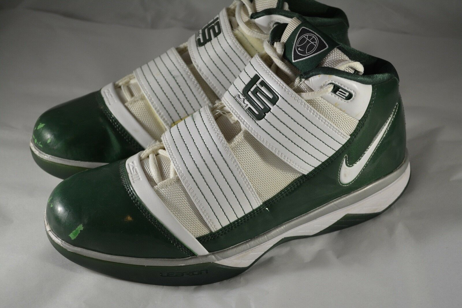 Mens NIKE LEBRON JAMES Zoom Soldier III 3 Green White Basketball shoes Size 10.5