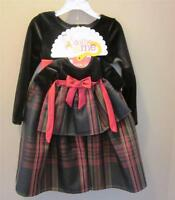 Dolly & Me Dress Set Sz 4 Brown Velveteen W Plaid Skirt Beautiful