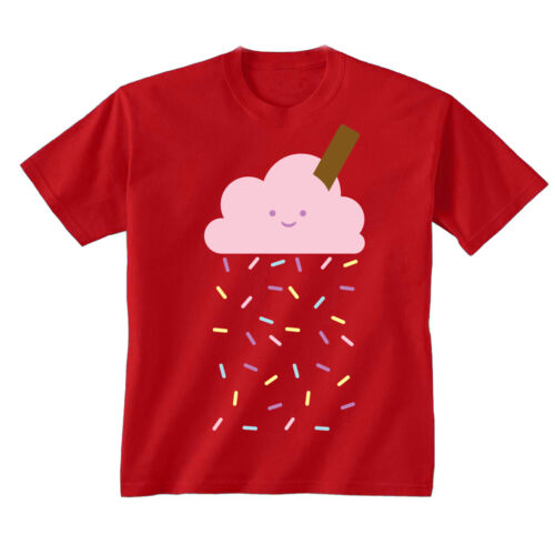 Youth Kids Childrens Cloud Rain Sprinkles Ice Cream Cute T-shirt NEW Age 5-13