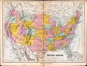 Map Of America Oregon.Details About 1887 Map United States Of America Oregon Arizona New Mexico Texas Ohio Utah