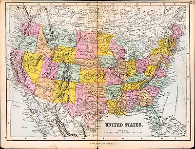 1887 MAP ~ UNITED STATES OF AMERICA ~ OREGON ARIZONA NEW ...