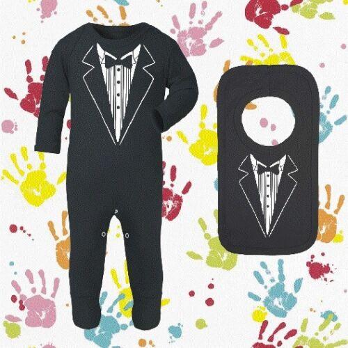 Baby tuxedo wedding baby sleepsuit and bib perfect wedding occasion outfit