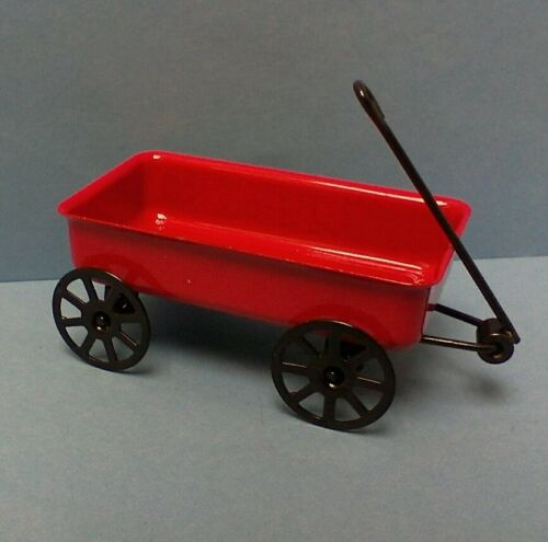 Dollhouse Miniature Outside Toys Red Metal Wagon /& Metal w Wood Sled 1:12 scale