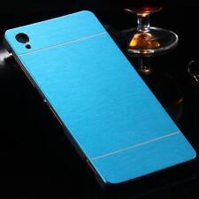 Sony Xperia Z1 Blue Brush Aluminum Metal Hard Case Skin Cover