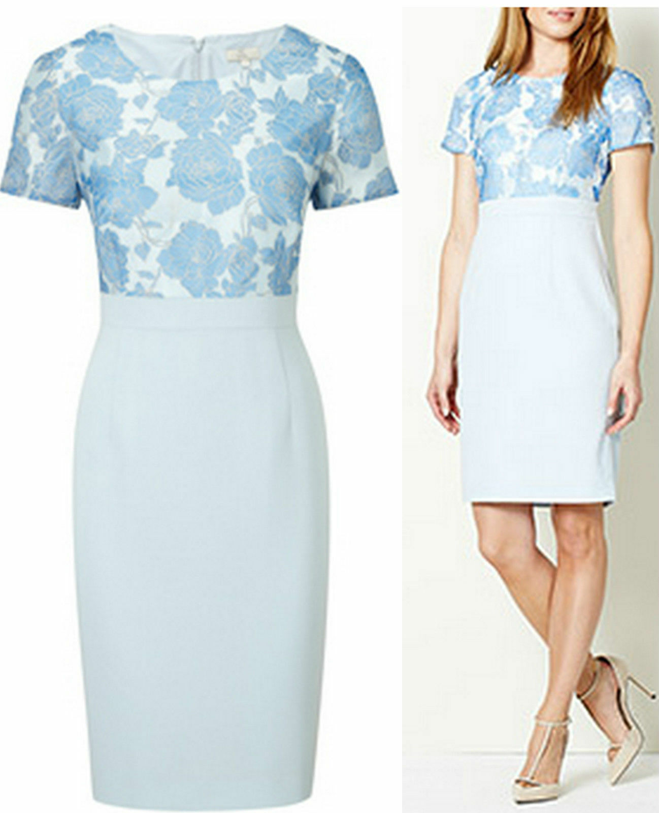 CC Country Casuals 14 RRP  Petite Floral Burnout Burnout Burnout bluee Shift Dress Wedding 58716a