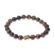 2017 Handmade Tiger Eye Stone Bracelet Natural Gemstone Beads Buddha Head Beaded