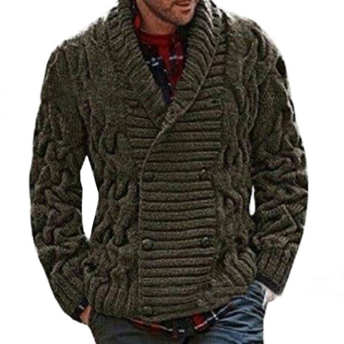 Mens Knitted Shawl Collar Double Breasted Cable Knitwear Cardigan Sweater Coat