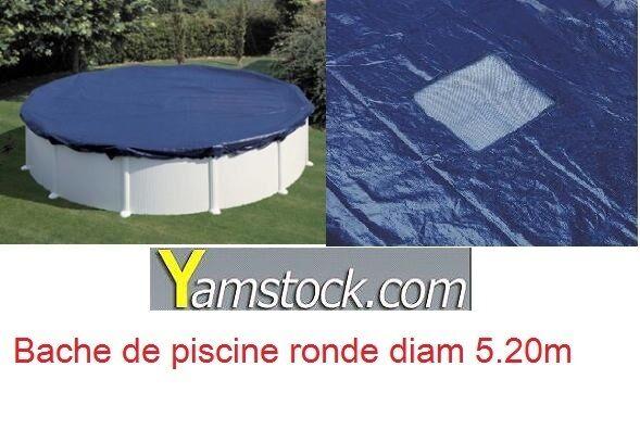 BÂCHE DE PISCINE D. 5,20 m POUR PISCINE 4,53 m RONDE HIVER HORS-SOL COUverdeURE
