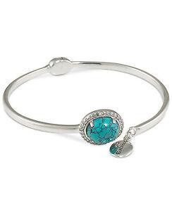 75-Carolee-Silver-Tone-GIFTING-Blue-Stone-034-Balance-034-Hinged-Bangle-Bracelet-NEW