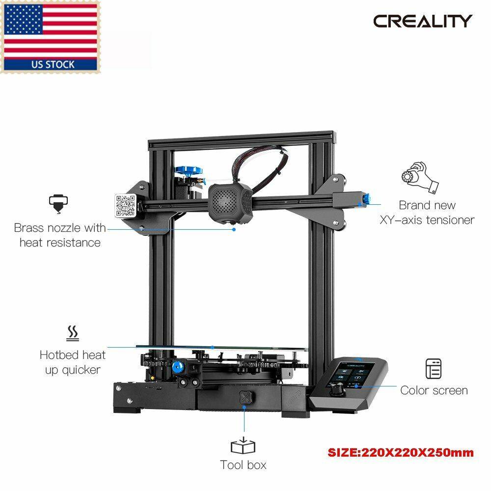 US Stock Creality Ender-3 V2 3D Printer MeanWell Power Motherboard 220X220X250mm