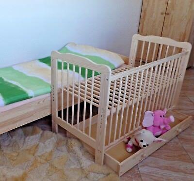 Beistellbett Babybett Komplett Set Gitterbett Schublade Matratze Massivholz NEU