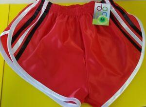 Retro-Nailon-Saten-Sprinter-Pantalones-Cortos-S-4XL-Rojo-Negro-Blanco