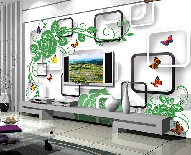3D greene bluemen Schmetterlinge Fototapeten Wandbild FototapeteBildTapete Familie