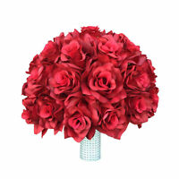 10 Rose Bouquet- Select Rose Color From The List - White Ribbon Handle