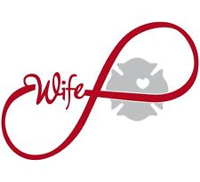 """Firefighters wife window decal - Ribbon Maltese Design 6' x 4"""" Exterior Decal"""