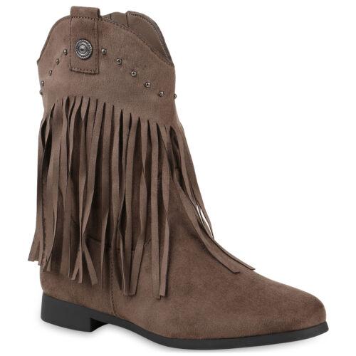 Damen Stiefeletten Cowboy Boots Gefütterte Western Stiefel 831747 Trendy Neu