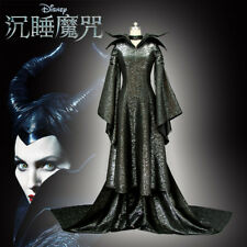 New Witch Sleeping Maleficent Angelina Jolie Dress+Hat Halloween Cosplay Costume