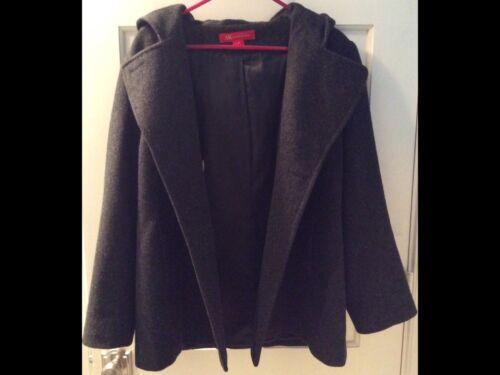 Sz Double euc Hooded Anne Ak Women Breasted Wool Klein Med vq10wFf