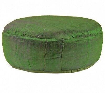 Yoga und Meditationskissen Rohseide Grün XL