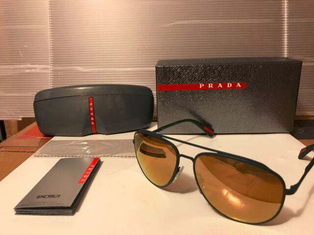 e80b39fe47b4 PRADA Linea ROSSA Ps55rs Green Brown Gold Mirrored Polarized Sunglasses 55r