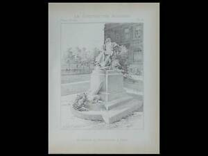 PARIS, MONUMENT JULES MEISSONIER - PLANCHE 1896 - ANTONIN MERCIE