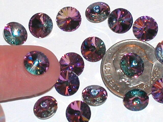 10pc Vintage AB crystal SWAROVSKI Round Vitrail Lt Rhinestones no hole 34ss 7mm