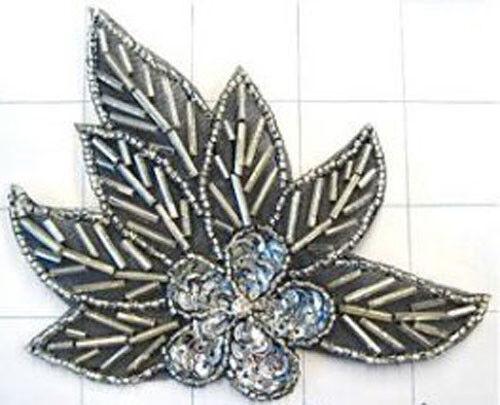 BLACK SILVER FLOWER SEQUIN BEADED APPLIQUE 0141-H