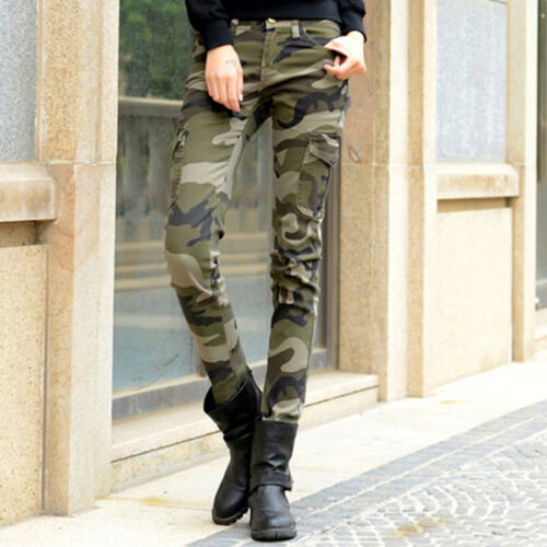 Women Camouflage Pocket Skinny Pencil Trousers Pants Soft Stretch Slim Military