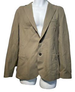 eleventy italy mens beige tan brown raw hem Cotton Blazer Size 50
