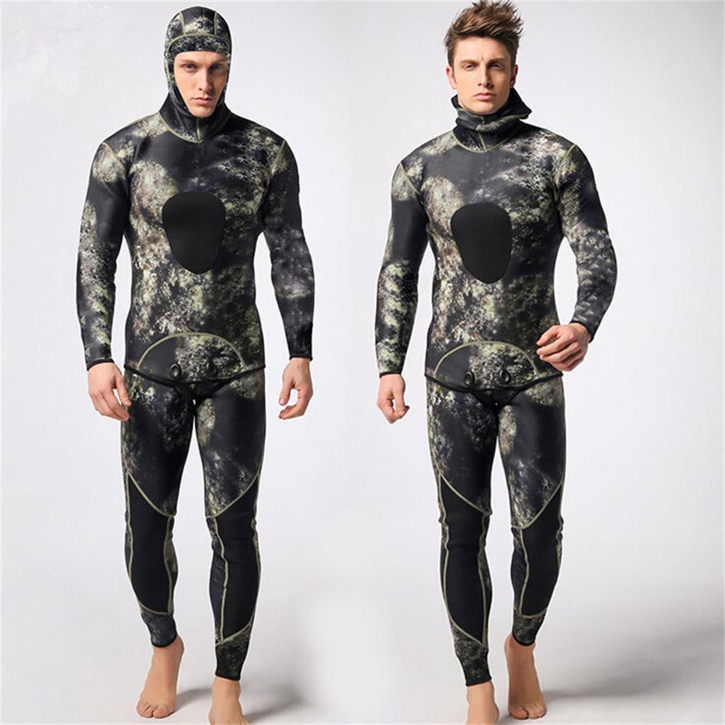 Hombre 3mm Neopreno Traje De dos piezas traje Para Buceo Snorkel Natación Pesca Submarina