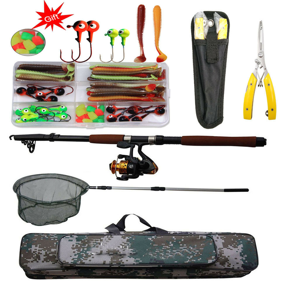 2.1 2.4M Spinning Fishing Rod and Reel Combo Fishing Plier Bag Hand Nets Lures