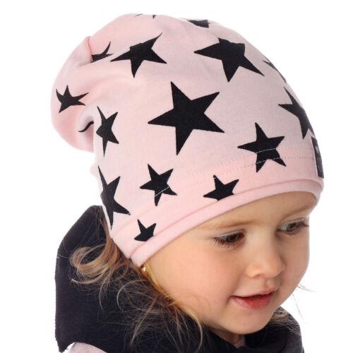 AJS Baby Mädchen KIndermütze Mütze Beanie Sterne mit Baumwolle Frühling Herbst