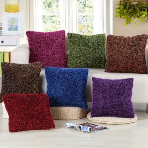 Bright Shaggy Chenille Souple Brillant Plush Throw Pillow Case Sofa Cushion Cover