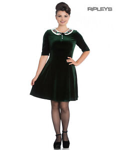 Hell-Bunny-Mini-Skater-Dress-Festive-Christmas-MERRILY-Green-Velvet-All-Sizes