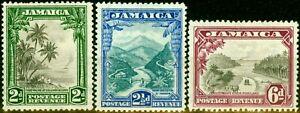 Jamaica 1938 Set of 3 SG111-113 Fine Lightly Mtd Mint