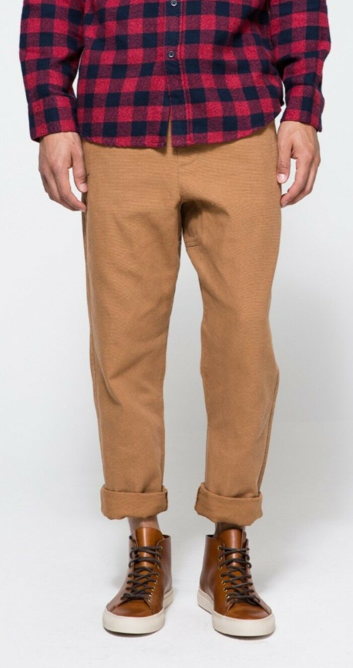NEW MEN'S OBEY TRAVELER BROWN HEAVY CANVAS PANTS SIZE EXTRA LARGE