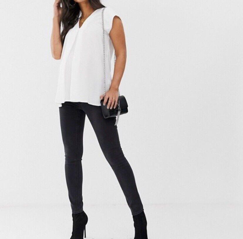 Asos Design Maternité Ridley Taille Haute Skinny Jeans Noir Délavé Uk 10
