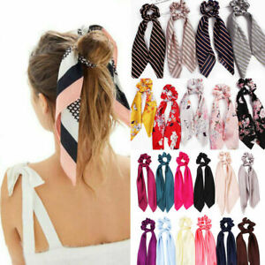 Attractive-Ponytail-Scarf-Bow-Elastic-Hair-Rope-Tie-Scrunchies-Ribbon-Hair-Bands
