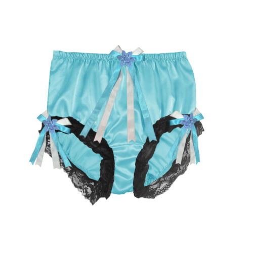 STB44 Adult Sissy Double Layer Gusset Silk Satin Panty Briefs Panties Mint Blue