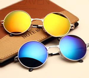 Gafas de sol de Hombre mujer moda espejo lentes redondo de metal ... 7e5ea5f1cf