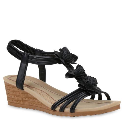Damen Sandaletten Sommerschuhe Keilabsatz Sandalen 833854 Trendy Neu